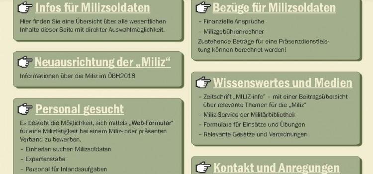 Informationen für die Miliz auf www.bundesheer.at